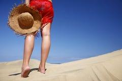 海滩帽子妇女 免版税库存图片