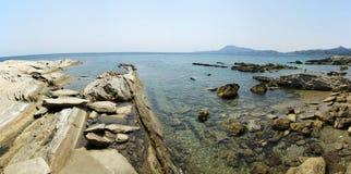 海滩平板石头 库存照片