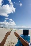 海滩庆祝 免版税库存照片