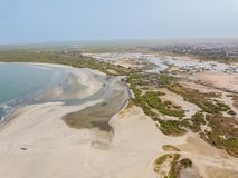 海滩开普角在冈比亚 免版税库存照片