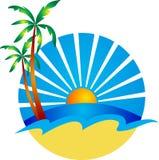 海滩徽标 皇族释放例证