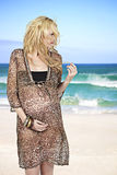 海滩怀孕的有风妇女 免版税库存图片