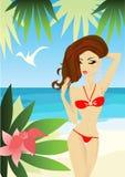 海滩性感的妇女 库存照片