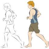海滩慢跑者男 免版税库存图片