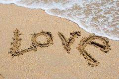 海滩我爱写的含沙您 免版税库存图片