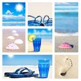 海滩拼贴画节假日场面 免版税库存照片