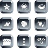 海滩按钮 免版税图库摄影