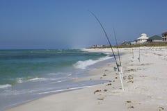 海滩捕鱼被钩的navarre 免版税库存图片