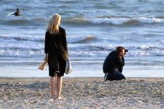 海滩摄影师 库存图片