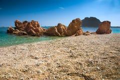 海滩撒丁岛的意大利 库存照片