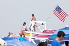 海滩救生员岗位 免版税库存照片