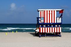 海滩救生员迈阿密南立场 免版税图库摄影