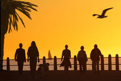 海滩散步日落 免版税库存照片