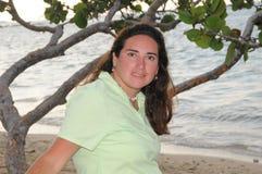 海滩新多米尼加共和国的妇女 免版税库存照片