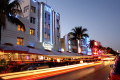 海滩旅馆南的迈阿密 免版税库存图片