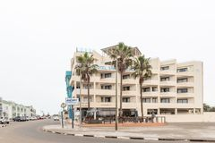 海滩旅馆在纳米比亚的大西洋海岸的斯瓦科普蒙德 免版税库存照片