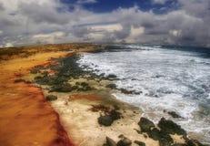 海滩日绿色沙子 免版税库存图片