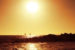 海滩日落 免版税库存图片