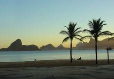 海滩日落 库存照片