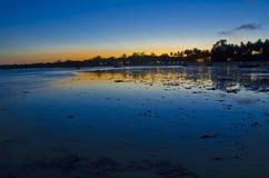 海滩晚上场面 库存图片