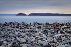 海滩有卵石花纹的冰岛 免版税库存照片