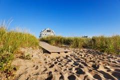 海滩木板走道缅因 免版税库存图片