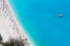 海滩梦想myrtos 库存图片