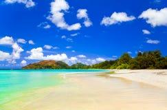 海滩棚d热带的塞舌尔群岛 库存图片