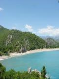 海滩横向olympos全景 免版税库存照片
