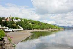 海滩横向portmeirion村庄威尔士 库存图片