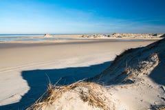 海滩步行在一天在北部海滩的2月诺尔德尔奈海岛  图库摄影