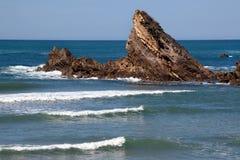 海滩比亚利兹通知 免版税库存照片