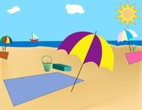 海滩毯子 库存照片