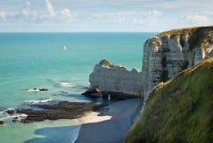 海滩法国岩石的诺曼底 免版税图库摄影