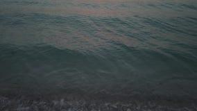 海滩波浪在晚上 股票录像