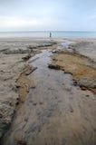 海滩流水 免版税库存照片