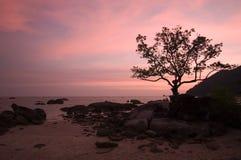 海滩浪漫日落 免版税图库摄影