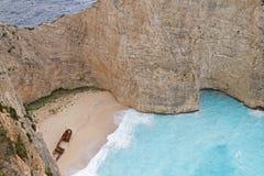 海滩海岛海难zakynthos 图库摄影