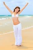 海滩海洋妇女年轻人 库存照片