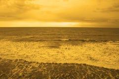 海滩海洋日落 库存图片