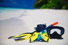 海滩潜水飞翅屏蔽 库存照片