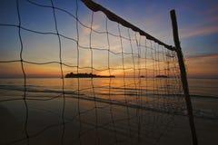 海滩热带心情的日落 免版税图库摄影