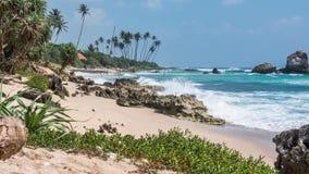 海滩热带斯里兰卡美丽的海岸Timelapse 4k 股票录像