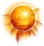 海滩热带框架的日落 库存图片