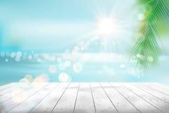 海滩热带视图 也corel凹道例证向量 库存例证