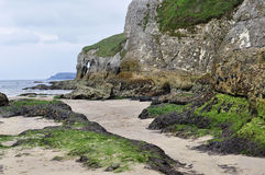 海滩爱尔兰北portrush岩石s白色 免版税库存照片