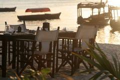 海滩用餐 免版税库存图片