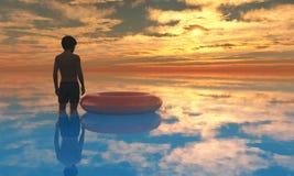 海滩男孩日落A1 免版税库存照片