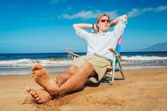 海滩的商人 库存图片