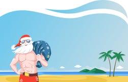 海滩的圣诞老人 免版税库存图片